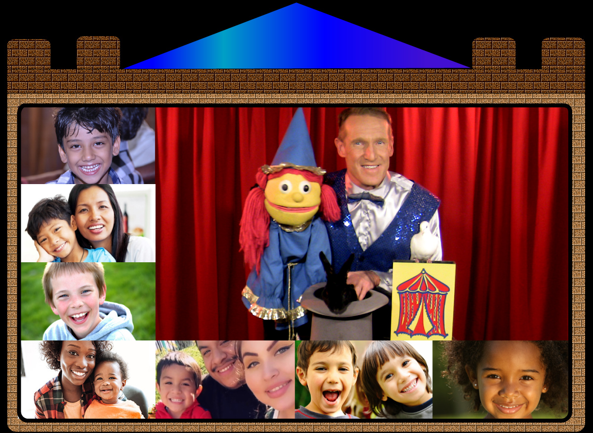 live virtual online magic puppet shows magician puppeteer zoom children's parties and family events schools, camps, libraries