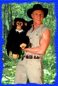 mark dolson puppet shows magic magicians Mark A.S. Dolson as Safari Markan Animal Theme show is a Crocodile Dundee flavor